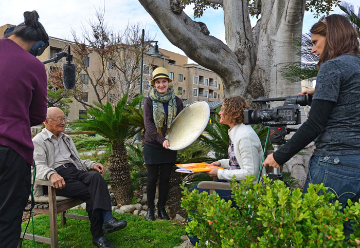 Cedrick Shimo, Betsy Kalin, Gretchen Warthen and Melissa Miller filming in Boyle Heights